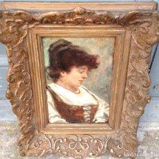 Arte: VICENTE NICOLAU COTANDA (1852-1898) PINTOR ESPAÑOL - ÓLEO SOBRE TABLA - RETRATO DE DAMA. Lote 67208769