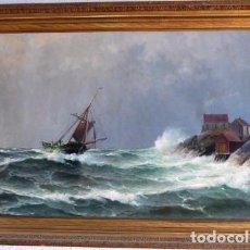 Arte: MARINA OLEO SOBRE LIENZO, MARINA REALIZADA POR EL PINTOR NORUEGO LAURITZ HAALAND. Lote 67226245