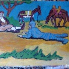 Arte: D. QUIJOTE Y SANCHO DERRIBADOS, ESCENA C-23 , OLEO TABLA DE CRESPO ,30X40 CM.. Lote 67361669