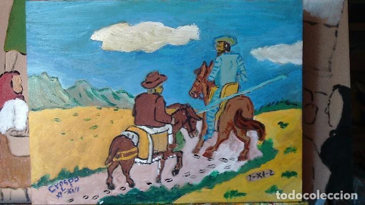 D. QUIJOTE Y SANCHO CAMINANDO,ÓLEO SOBRE TABLA DE 30X40 CM. DE CRESPO (Arte - Pintura Directa del Autor)