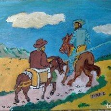 Arte: D. QUIJOTE Y SANCHO CAMINANDO,ÓLEO SOBRE TABLA DE 30X40 CM. DE CRESPO. Lote 67361693