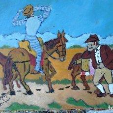 Arte: D. QUIJOTE SE PRUEBA EL CASCO DEL BARBERO, ÓLEO SOBRE TABLA DE 30X40 CM. DE CRESPO. Lote 67361757