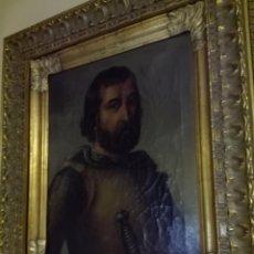 Arte: OLEO SOBRE LIENZO RETRATO RODRIGO DIAZ DE VIVAR - CID CAMPEADOR - FIRMA CLEMENTINA DOMÍNGUEZ- 1876 -. Lote 67385049