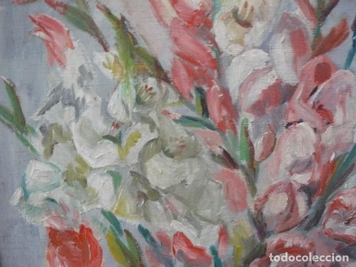 Arte: OLEO SOBRE TELA - FIRMA ILEGIBLE - ´BODEGON DE FLORES - Foto 4 - 67586965