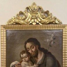 Arte: OLEO SOBRE LIENZO BARROCO SIGLO XVIII, SAN JOSÉ, MEDIDA CON MARCO 55X87 CM.. Lote 133587559