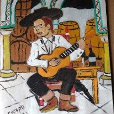 Arte: TOCAOR FLAMENCO ,ÓLEO SOBRE MADERA 30X40 CM. DE CRESPO. Lote 67788213