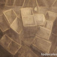 Arte: DIPTICO EN TELA GRANDE CON BOMBILLA Nº 35 -- JULIO BALAGUER -- 120 X 160 CM.. Lote 67881009
