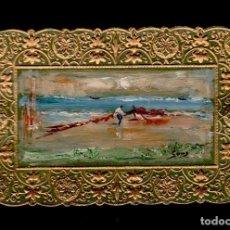 Arte: S0019-ANTIGUA POSTAL TROQUELADA - MINIATURA ORIGINAL PINTADA A MANO, AL OLEO, - FONDO VERDE -TEMA M. Lote 46388890