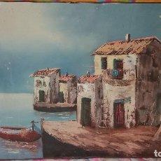 Arte: PRECIOSO OLEO SOBRE LIENZO,PAISAJE CASAS A ORILLAS DEL MAR,FIRMADO, VOILPRO,CREO. Lote 68188081