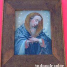 Arte: ÓLEO BAJO CRISTAL -DOLOROSA SIETE DOLORES (ESPADAS)-. SIGLO XVIII -ESCUELA ESPAÑOLA-. 57X49.5 CMS. Lote 193190866