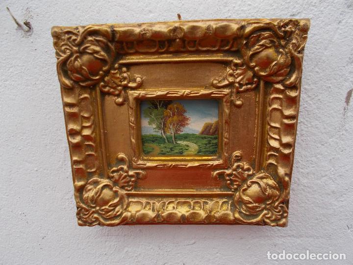 PINTURA EN MARCO DORADOS ARBOLES (Arte - Pintura - Pintura al Óleo Antigua sin fecha definida)