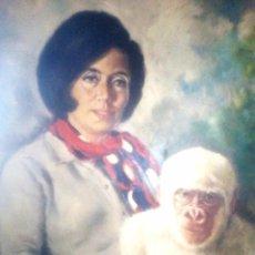 Arte: ÓLEO FIRMADO POR A. AGUILÓ TOSCA DE COPITO DE NIEVE Y MARÍA GRACIA. Lote 68309125
