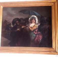Arte: EUGENIO LUCAS VELAZQUEZ. MAJA GOYESCA CON SOMBRERO.ÓLEO SOBRE LIENZO. Lote 68619125