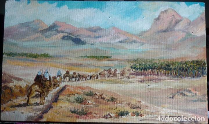 OASIS MORUNO. ÁRABE ORIENTALISTA. LIENZO 35,5X21,6. ENMARCACIÓN NUEVA. (Arte - Pintura - Pintura al Óleo Contemporánea )