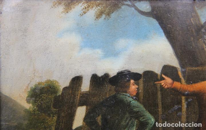 Arte: OLEO SOBRE LATA FINALES DEL XVIII PRINCIPIOS DEL XIX ESCENA POPULAR - Foto 6 - 33132832