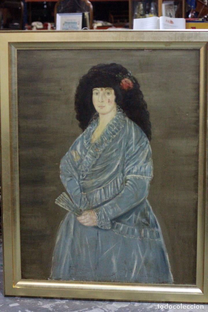 Arte: L OLEO DE GRANDES DIMENSIONES, DAMA, RETRATO DE CORTE. 88X115cm(sin contar marco) - Foto 2 - 68862189