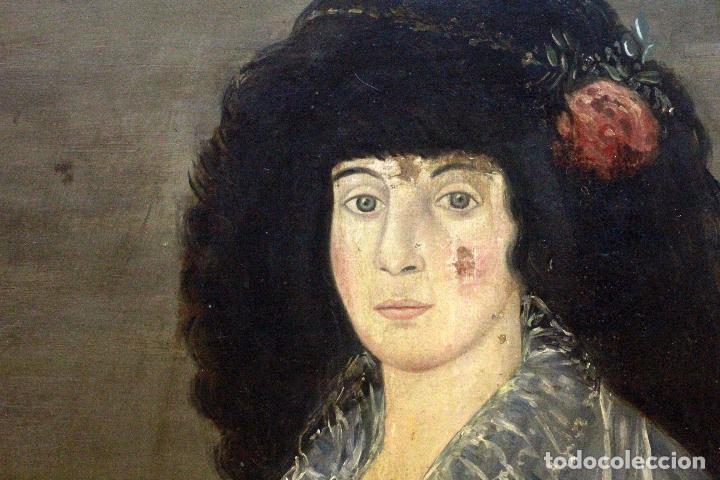 Arte: L OLEO DE GRANDES DIMENSIONES, DAMA, RETRATO DE CORTE. 88X115cm(sin contar marco) - Foto 4 - 68862189
