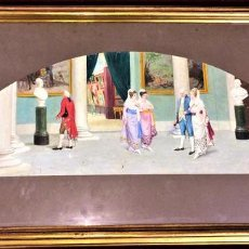 Arte: VISITA AL MUSEO. ÓLEO SOBRE PAPEL. FIRMADO VICENTE CAMPESINO. ESPAÑA. 1882.. Lote 69372553