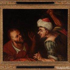"""Arte: CUADRO ESCUELA HOLANDESA DEL SIGLO XVIII. """"ESCENA BÍBLICA"""". ÓLEO SOBRE LIENZO.. Lote 69450517"""