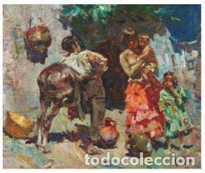 JOSEP SERRASANTA. GITANOS. LIENZO 60X72. NUEVAS FOTOS. (Arte - Pintura - Pintura al Óleo Contemporánea )