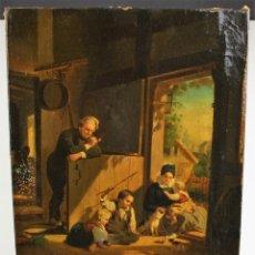 Arte: A LA CAZA DEL RATÓN. ÓLEO / LIENZO. ESCUELA DE ROMA. ITALIA. SIGLO XIX.. Lote 67087769
