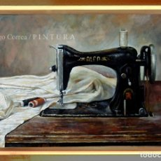 Arte: 'MAQUINA DE COSER ALFA'. ÓLEO LIENZO 68 X 31 CM. / 'SEWING MACHINE'. OIL ON CANVAS. DOMINGO CORREA. Lote 43460901