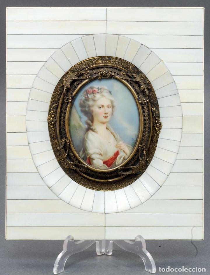 miniatura óleo sobre marfil retrato dama época - Comprar Pintura al ...