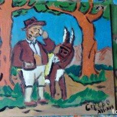 Arte: ESCENAS DEL QUIJOTE: SANCHO PANZA LLORANDO CAP. XX ,ÓLEO SOBRE TABLA 23X23 CM. DE CRESPO. Lote 70336693