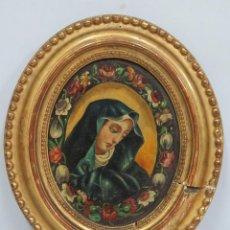 Arte: ANTIGUA Y BONITA DOLOROSA. OLEO S/ TABLA DE NOGAL. SIGLO XIX. Lote 70565157