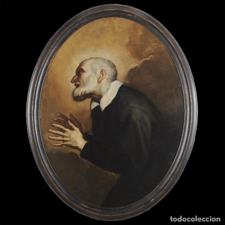 Arte: Impresionante óleo barroco italiano del siglo XVII representando a San Felipe Neri - Foto 5 - 74376398