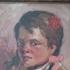 Arte: OLEO SOBRE TELA, RETRATO NIÑA, FIRMADO J. MIRET ALEU (BCN1921- MALLORCA 1999), 1948, 38X46 CM. Lote 71473251