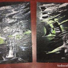 Arte: 2 OLEOS SOBRE TABLERO FONDO NEGRO CON BLANCO Y VERDE 21 X 35,50 CMS.. Lote 71519847