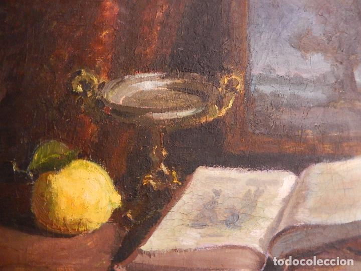 ÓLEO SOBRE LIENZO. BODEGÓN. FIRMADO A. MIRALLES. 1949. (Arte - Pintura - Pintura al Óleo Contemporánea )