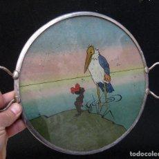 Arte: AYUDA!! DIBUJO PINTURA ART DECO CIRCA 1900 EN BANDEJA BRONCE PLATEADA PAJARO Y NEGRITA COMIC NOVEAU. Lote 71591859
