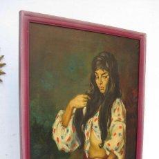 Arte: PRECIOSA PINTURA CUADRO ANTIGUO OLEO LIENZO BONITA GITANA FIRMADO A MONTOYA CIRCA 1940. Lote 71651135