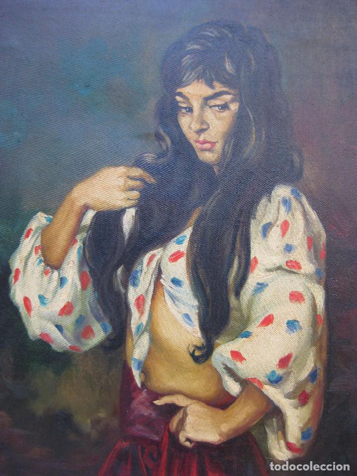 Arte: PRECIOSA PINTURA CUADRO ANTIGUO OLEO LIENZO BONITA GITANA FIRMADO A MONTOYA CIRCA 1940 - Foto 3 - 71651135