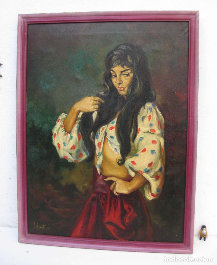 Arte: PRECIOSA PINTURA CUADRO ANTIGUO OLEO LIENZO BONITA GITANA FIRMADO A MONTOYA CIRCA 1940 - Foto 4 - 71651135