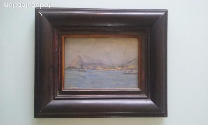 Kunst: OLEO SOBRE TABLA VISTAS PUERTO FIRMA R. PALMAROLA ROMEU 21X15 CM. - Foto 2 - 71666511