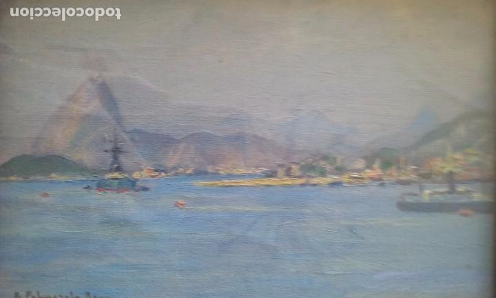 Kunst: OLEO SOBRE TABLA VISTAS PUERTO FIRMA R. PALMAROLA ROMEU 21X15 CM. - Foto 4 - 71666511
