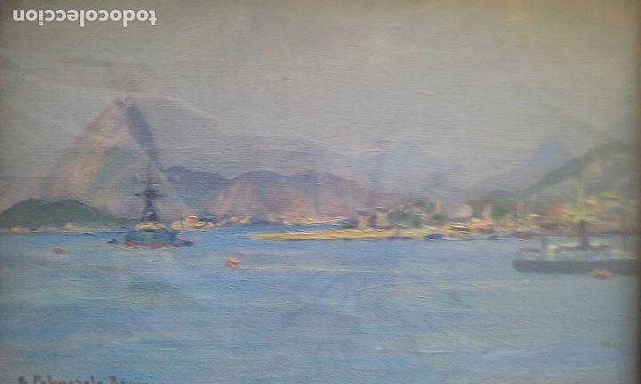 OLEO SOBRE TABLA VISTAS PUERTO FIRMA R. PALMAROLA ROMEU 21X15 CM. (Kunst - Malerei - Zeitgenössische Ölmalerei)