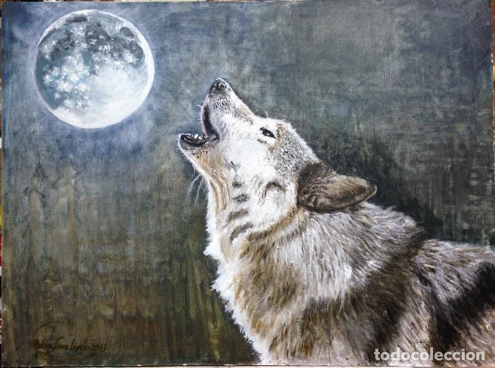 lobo , la loba y la luna, perros, mascotas, pai - Comprar Pintura ...