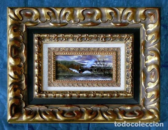 PINTURA SOBRE ESMALTE ENMARCADO -TREN - AUTOR ALBERTO ORTEGO POLO - M. RAMOS ARTAL OBRA FIRMADA (Arte - Pintura Directa del Autor)