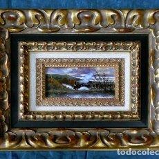Arte: PINTURA SOBRE ESMALTE ENMARCADO -TREN - AUTOR ALBERTO ORTEGO POLO - M. RAMOS ARTAL OBRA FIRMADA. Lote 71684487