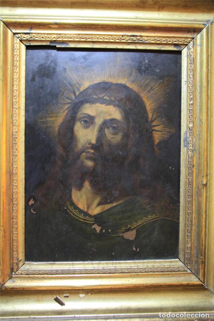 CRISTO CON CORONA DE ESPINO. ÓLEO SOBRE COBRE. BARROCO. SIGLOS XVI-XVII (Arte - Pintura - Pintura al Óleo Antigua siglo XVI)