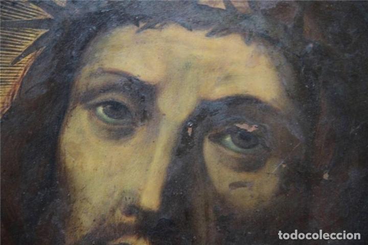 Arte: CRISTO CON CORONA DE ESPINO. ÓLEO SOBRE COBRE. BARROCO. SIGLOS XVI-XVII - Foto 4 - 71770095