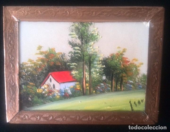 Arte: Dos óleos sobre tabla de paisajes. Firmados. Miniaturas - Foto 5 - 61441263