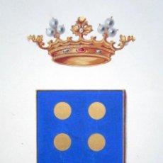 Arte: PINTURA ORIGINAL HERÁLDICA PARA ESCUDO DEL MARQUÉS DE ALBASERRADA. DIEGO DÁVILA TOLEDO Y GUZMÁN. . Lote 72105831