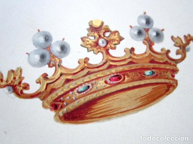 Arte: PINTURA ORIGINAL HERÁLDICA PARA ESCUDO DEL MARQUÉS DE ALBASERRADA. DIEGO DÁVILA TOLEDO Y GUZMÁN. - Foto 3 - 72105831