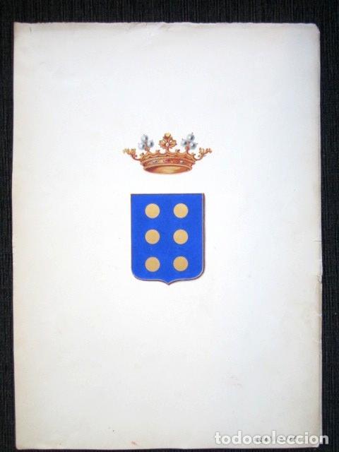 Arte: PINTURA ORIGINAL HERÁLDICA PARA ESCUDO DEL MARQUÉS DE ALBASERRADA. DIEGO DÁVILA TOLEDO Y GUZMÁN. - Foto 5 - 72105831