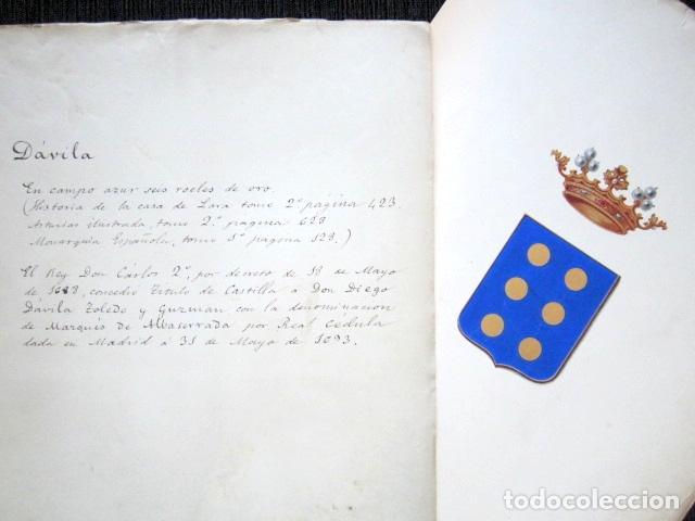 Arte: PINTURA ORIGINAL HERÁLDICA PARA ESCUDO DEL MARQUÉS DE ALBASERRADA. DIEGO DÁVILA TOLEDO Y GUZMÁN. - Foto 6 - 72105831